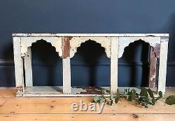 Indian Mughal Arch Shelf Boho Antique Cream Wood Rustic Storage Display Unit