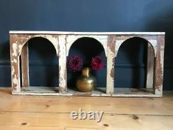 Indian Three Arch Shelf Boho Antique Cream Wood Rustic Storage Display Unit