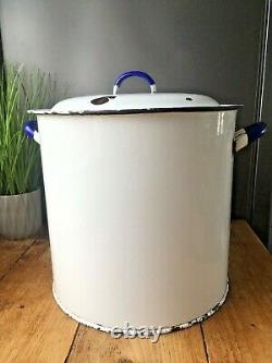 Large Vintage Military Issue Enamel Bread Bin Storage Container Bakery Display
