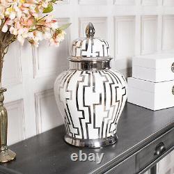 Large White Silver Ginger Jar Storage Decor Display Lattice Home Decoration