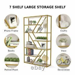 Modern Bookshelf Home Office Elegant Storage Display Shelves With Gold Tube Frame
