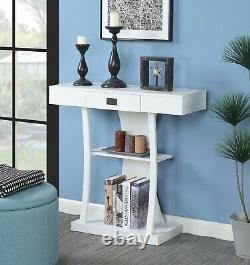 Modern Console Table Accent Shelf Drawer Entryway Storage Sofa Display WHITE
