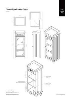 Modern Display Cabinet Shabby Chic Furniture White Glass Door Slim Storage Unit