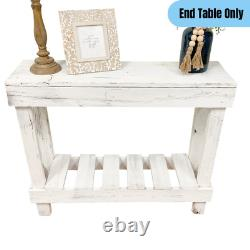 Modern Farmhouse Sofa Table Reclaimed Wood Entryway Display Storage Rustic White