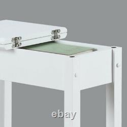 Modern Flip Top Side Accent Table Narrow Display Shelf Concealed Storage White