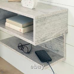 Modern Floating Nightstand Bedside Display Table Wall Storage Shelf Rustic White