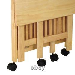 Modern Folding Printer Cart Mobile Media Stand Side Table Display Storage Brown