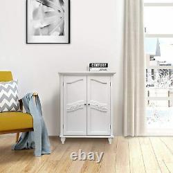 Modern Scroll Door Bathroom Cabinet 2 Shelf Kitchen Office Storage Display White