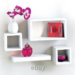 Modern Set Of 4 Floating Wall Shelves Storage Display Cube Shelf White Black Oak