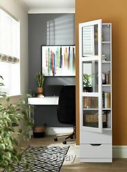 Modern Slim Bookcase Cupboard Cabinet Storage Glass Door Display Shelving Unit