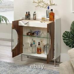 Modern Storage Accent Display Cabinet Glass Door Insert Glass Shelf One Drawer