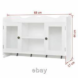 Modern Wall Cabinet Storage White Display Shelf Glass Door Cupboard Kitchen