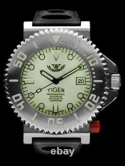 NEW Store DIsplay Squale 30 ATMOS Tiger White Lume 44mm Watch 2 Year Warranty