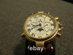 Nos Stauer Graves Moonphase Mens 27j Auto 33 Watch Skeleton Back-store Display