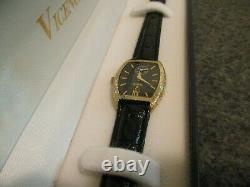 Nos Womens 14k Vicence Tonneau Barrel Watch Black Dial (store Display)- New Batt