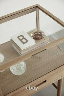 Oak & Glass Display Storage On Stand With Drawer 75 cm by Hubsch