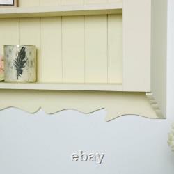 Ornate cream painted wood display shelves vintage country cottage storage shelf