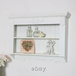 Ornate white shelving unit display storage kitchen living room French vintage