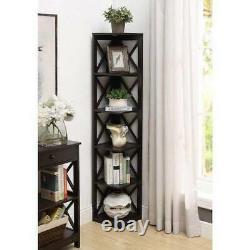 Oxford Bookcase X Design 5 Tier Corner Display Storage Furniture Bookshelf New