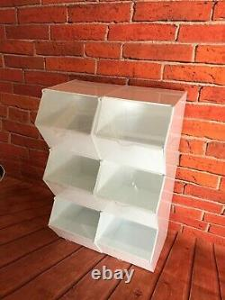 Pick and mix / storage white display bins choice of 4,6,9,12 pack