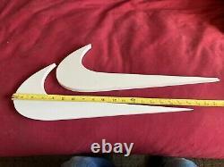 Rare 2 Nike Swoosh Check Hanging Store Display Sign Advertisement 2 NIKE LOGOS