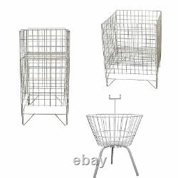 Retail Dump Bins White Display Baskets Square Round Shop Store Sale Storage