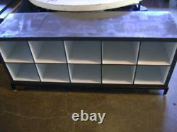 Retail Grey & White Cube Storage Display Table Cabinet Set 2