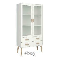 Retro White Display Cabinet 2 Glass Doors 2 Drawer Storage Sideboard Pine Legs