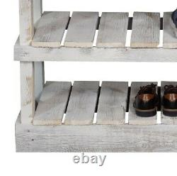 Rustic Farmhouse Shoe Bench Reclaimed Wood Display Storage Organizer Shelf White