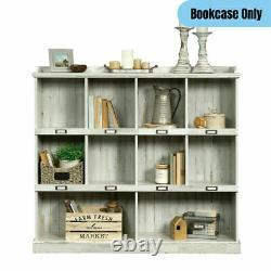 Rustic Farmhouse10-Cubby Bookcase Library Storage Display Organizer Shelf White