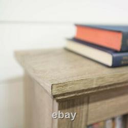 Rustic Wooden Media Cabinet CD-DVD Storage Shelf Tower Glass Door Stand Display