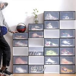 SHOE BOX Plastic Magnetic Drop-Side 10PK Stackable Container Storage or Display