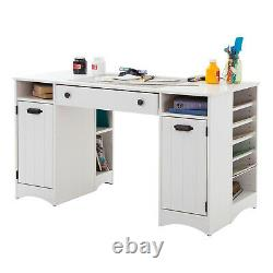 South Shore Artwork Craft Table With Storage Pure White White