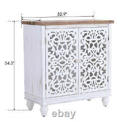 Storage Cabinet With Doors Wooden Display Organizer Console Table Hollow White