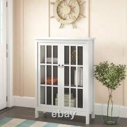 Tall 50 Curio China Display Storage Cabinet Buffet Glass Doors 3 Shelf White
