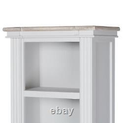 Tall Classic White Grey Furniture Wood Storage Shelf Unit Open Display Bookcase