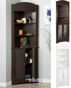 Tall Display Stand Corner Etagere Shelf Shelves Storage Cabinet White Espresso