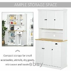 Tall Kitchen Cabinet Display Storage Cupboard Dining Room Drawers Shelves White