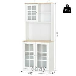 Tall Kitchen Cabinet Wooden Cupboard Pantry Storage with Display Shelves White/Oak