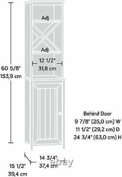 Tall Linen Cabinet Tower Bathroom Shelf w Door Bath Towel Storage Display White