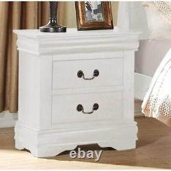 Traditional Elegant 2-Drawer Nightstand Bedside Lamp Table Display Storage White