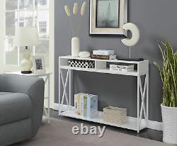 Transitional Console Table with Cubby Shelves Hallway Decor Display Storage White