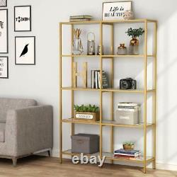 Tribesigns Display Shelf Storage Organizer Modern Gold Tube Frame Bookcase Decor