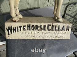 VINTAGE ORIGINAL c1900 WHITE HORSE CELLAR SCOTCH WHISKY STORE DISPLAY SIGN