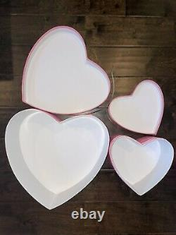 Victoria's Secret VS Pink Monogram Hat Box Store Display Set Of 2 Heart Boxes