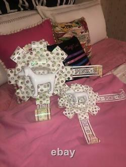 Victorias Secret PINK 2 Bows With Dogs SET 2017 Holiday Store Display Prop Rare