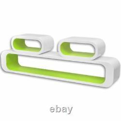 VidaXL 3pcs Display Storage Cube Floating Wall Shelf Set White/Black/Red/Green