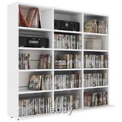 VidaXL CD Cabinet White Chipboard CD Storage Display Shelf Bookcase Stand