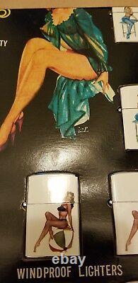Vintage 1950 Store Display 12 Pin Up Girl Flip Top Lighter Japan Rare NOS Lot
