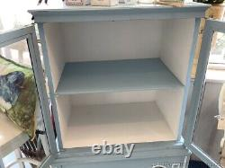 Vintage French Glass Front Cabinet Shelf Unit Blue White Accent Storage Display